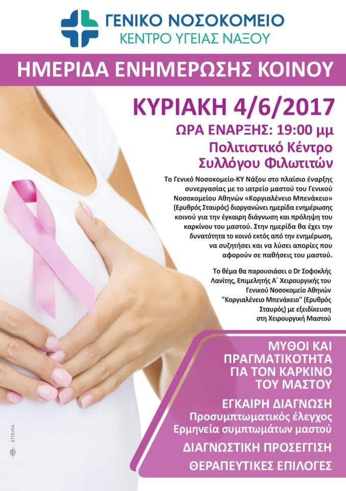 ΕνημΕρωση στην ορεινή Νάξο (Φιλώτι: 04/06, 19:00) για τον καρκίνο του μαστού